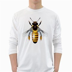 Bee White Long Sleeve T Shirts