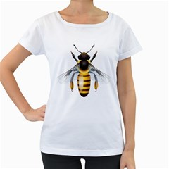Bee Women s Loose Fit T Shirt (white)