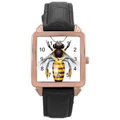 Bee Rose Gold Leather Watch