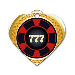 Casino Chip Clip Art Dog Tag Heart (one Side)