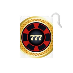 Casino Chip Clip Art Drawstring Pouches (small)