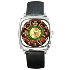 Casino Roulette Clipart Square Metal Watch