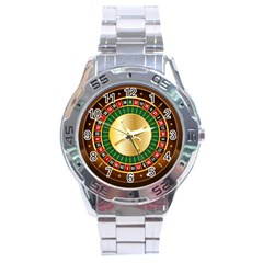 Casino Roulette Clipart Stainless Steel Analogue Watch