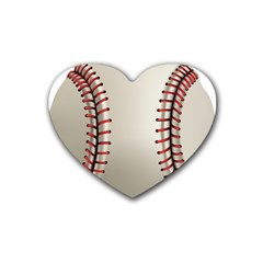 Baseball Rubber Coaster (heart)