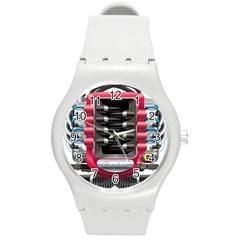 Car Engine Round Plastic Sport Watch (m)