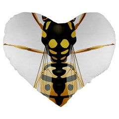 Wasp Large 19  Premium Heart Shape Cushions