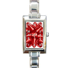 Red Bow Rectangle Italian Charm Watch