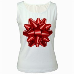Red Bow Women s White Tank Top