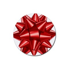 Red Bow Rubber Coaster (round)