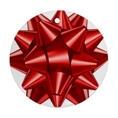 Red Bow Round Ornament (two Sides)