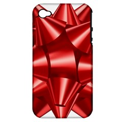 Red Bow Apple Iphone 4/4s Hardshell Case (pc+silicone)