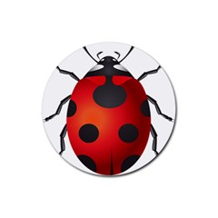 Ladybug Insects Rubber Coaster (round)