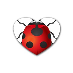 Ladybug Insects Rubber Coaster (heart)
