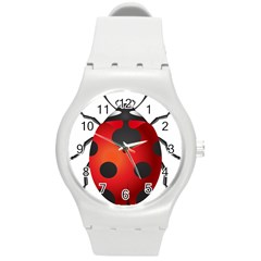 Ladybug Insects Round Plastic Sport Watch (m)