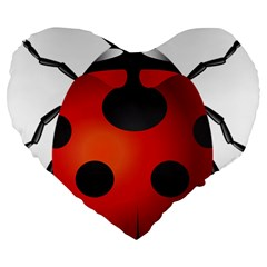 Ladybug Insects Large 19  Premium Heart Shape Cushions