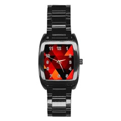 Abstract Triangle Wallpaper Stainless Steel Barrel Watch