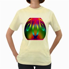 Colorful Easter Egg Women s Yellow T Shirt