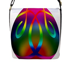 Colorful Easter Egg Flap Messenger Bag (l)