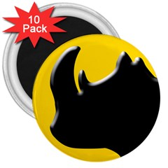 Black Rhino Logo 3  Magnets (10 Pack)