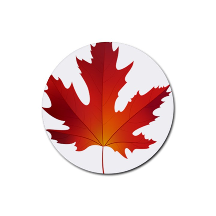Autumn Maple Leaf Clip Art Rubber Coaster (Round)