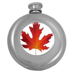 Autumn Maple Leaf Clip Art Round Hip Flask (5 Oz)