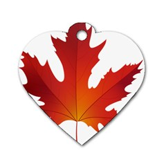 Autumn Maple Leaf Clip Art Dog Tag Heart (two Sides)