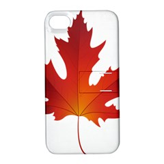 Autumn Maple Leaf Clip Art Apple Iphone 4/4s Hardshell Case With Stand