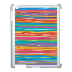 Colorful Horizontal Lines Background Apple Ipad 3/4 Case (white)