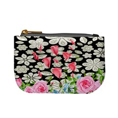 Gray & Black Spring Flower Mini Coin Purse