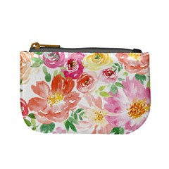 Pink & Green Spring Flower Mini Coin Purse