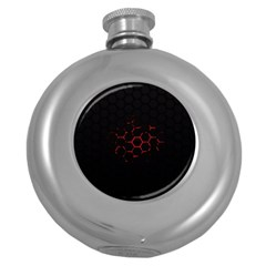 Abstract Pattern Honeycomb Round Hip Flask (5 Oz)