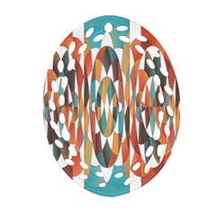 Colorful Geometric Abstract Oval Filigree Ornament (two Sides)