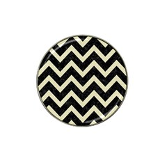 Chevron9 Black Marble & Beige Linen Hat Clip Ball Marker (4 Pack)