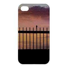 Small Bird Over Fence Backlight Sunset Scene Apple Iphone 4/4s Premium Hardshell Case