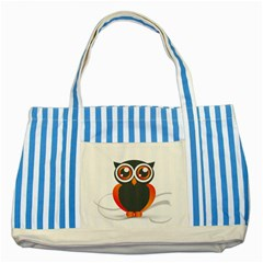 Owl Logo Striped Blue Tote Bag
