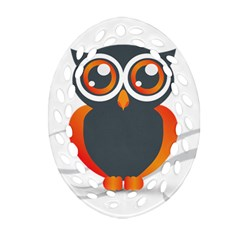 Owl Logo Oval Filigree Ornament (two Sides)