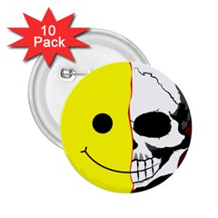 Skull Behind Your Smile 2 25  Buttons (10 Pack)