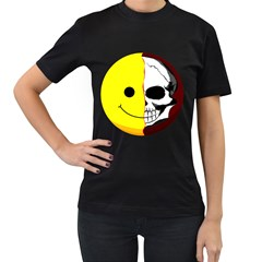 Skull Behind Your Smile Women s T Shirt (black) (two Sided)