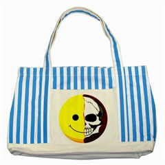 Skull Behind Your Smile Striped Blue Tote Bag