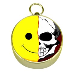 Skull Behind Your Smile Gold Compasses
