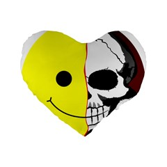 Skull Behind Your Smile Standard 16  Premium Flano Heart Shape Cushions