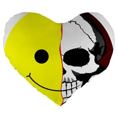 Skull Behind Your Smile Large 19  Premium Flano Heart Shape Cushions