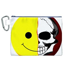 Skull Behind Your Smile Canvas Cosmetic Bag (xl)