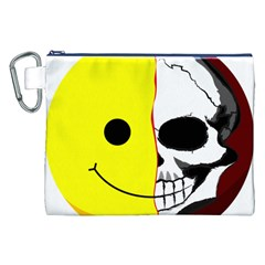Skull Behind Your Smile Canvas Cosmetic Bag (xxl)