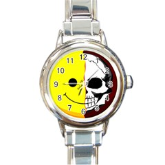 Skull Behind Your Smile Round Italian Charm Watch