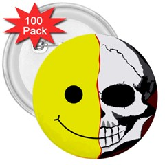 Skull Behind Your Smile 3  Buttons (100 Pack)
