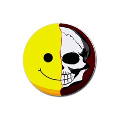Skull Behind Your Smile Rubber Round Coaster (4 Pack)
