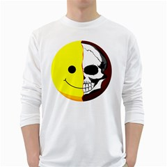 Skull Behind Your Smile White Long Sleeve T Shirts