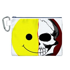 Skull Behind Your Smile Canvas Cosmetic Bag (l)