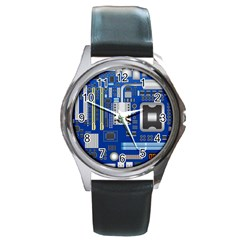 Classic Blue Computer Mainboard Round Metal Watch